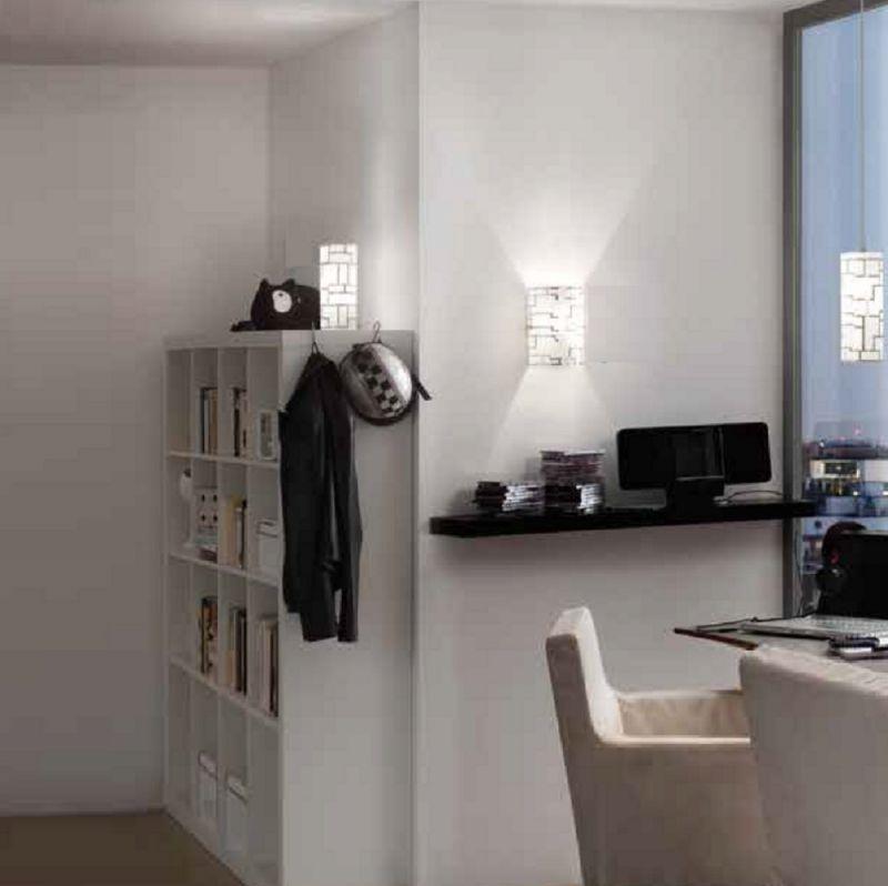 EGLO Wandleuchte, weißes Dekorglas mit Lichtaus...
