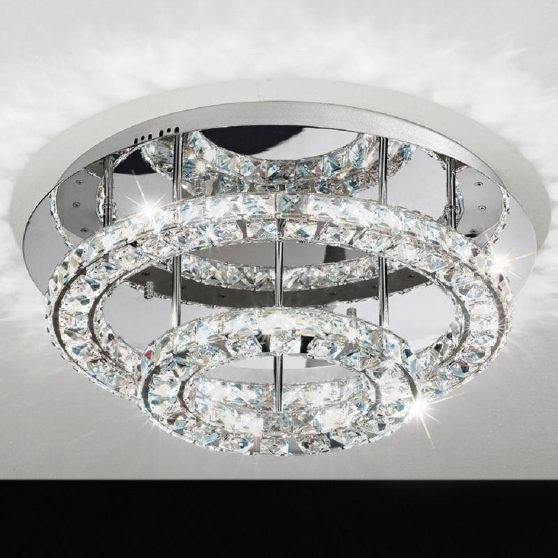EGLO Deckenleuchte rund Chrom mit klarem Kristallglas Ø 55 cm 1x 36 Watt, 22,00 cm, 55,00 cm 39003