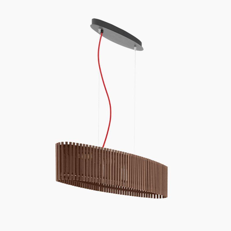 EGLO LED-Pendelleuchte oval, dunkles Naturholz, Kabel rot Kabel rot 94024