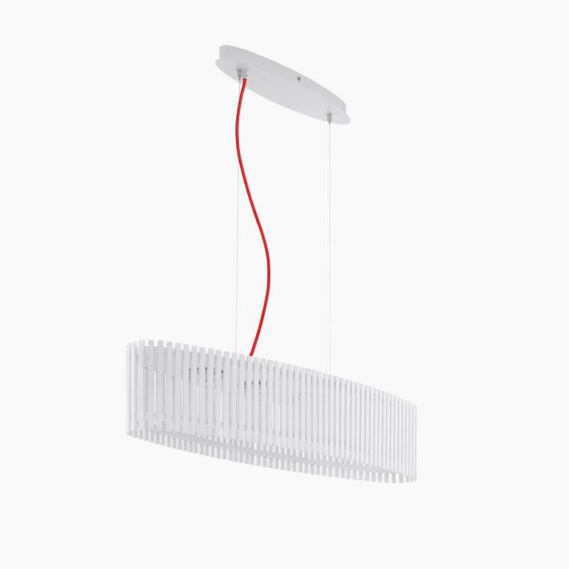 EGLO LED-Pendelleuchte oval, weißes Naturholz, Kabel rot Kabel rot 94023