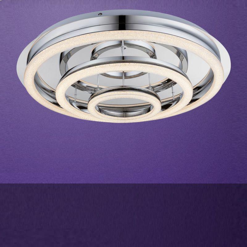Globo LED-Deckenleuchte mit Fernbedienung, Chrom, Ø70cm 49223-72