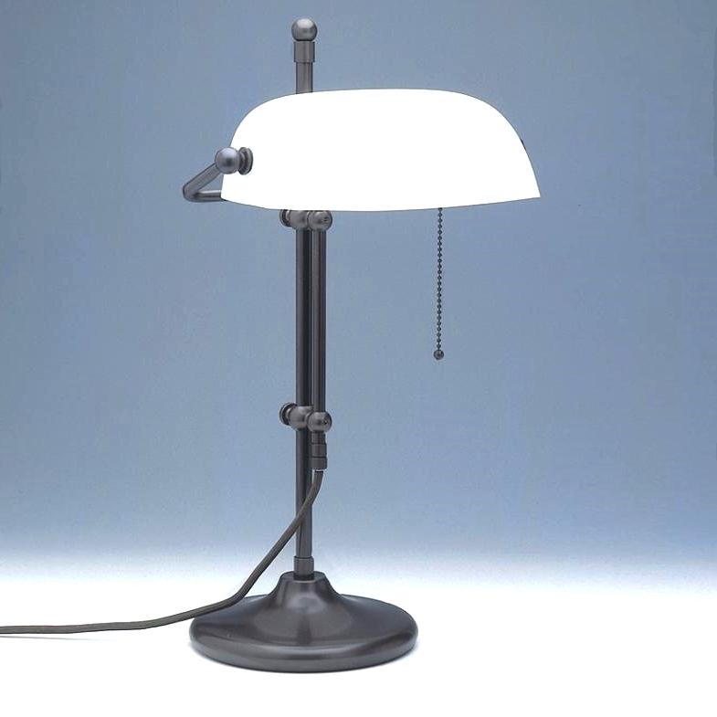 LMS Höhenverstellbare Bankers-Lamp in braun - Glasschirm in weiß-matt weiß, matt TL 09 braun/F-1951