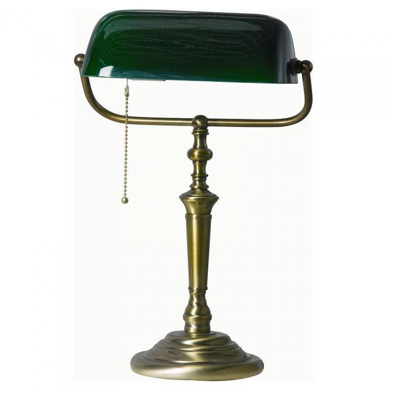 Steinhauer Bankerlampe altmessing, Glas grün, Zugschalter Glas grün 6185 BR