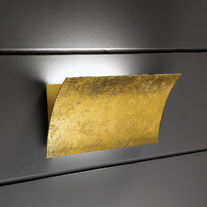 Linea Light Wandleuchte in Blattgold gold, Blat...
