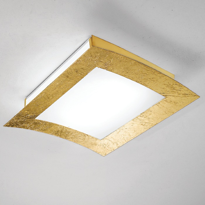 Linea Light Deckenleuchte in Blattgold gold/wei...