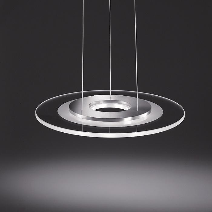 Helestra LED-Pendelleuchte Alide 45cm, Glas kla...