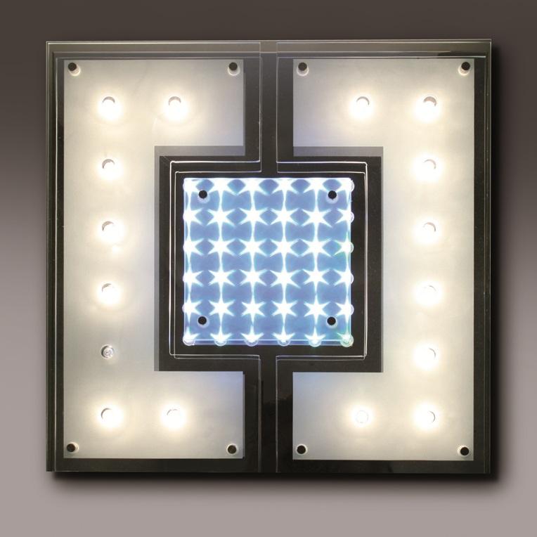 Paul Neuhaus Wand- oder Deckenleuchte 40 x 40 cm - Kombiniert RGB-Farbwechsel LEDs und ECO-Halogen-Leuchtmittel - Fernbedienung Dione 6744-17