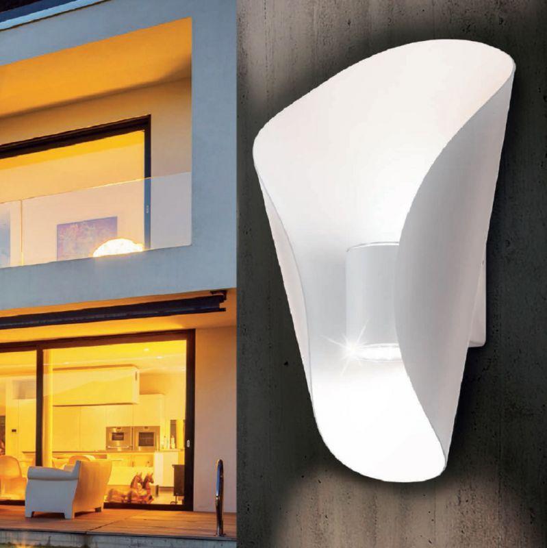 EGLO LED-Außenwandleuchte in weiß, Licht nach o...
