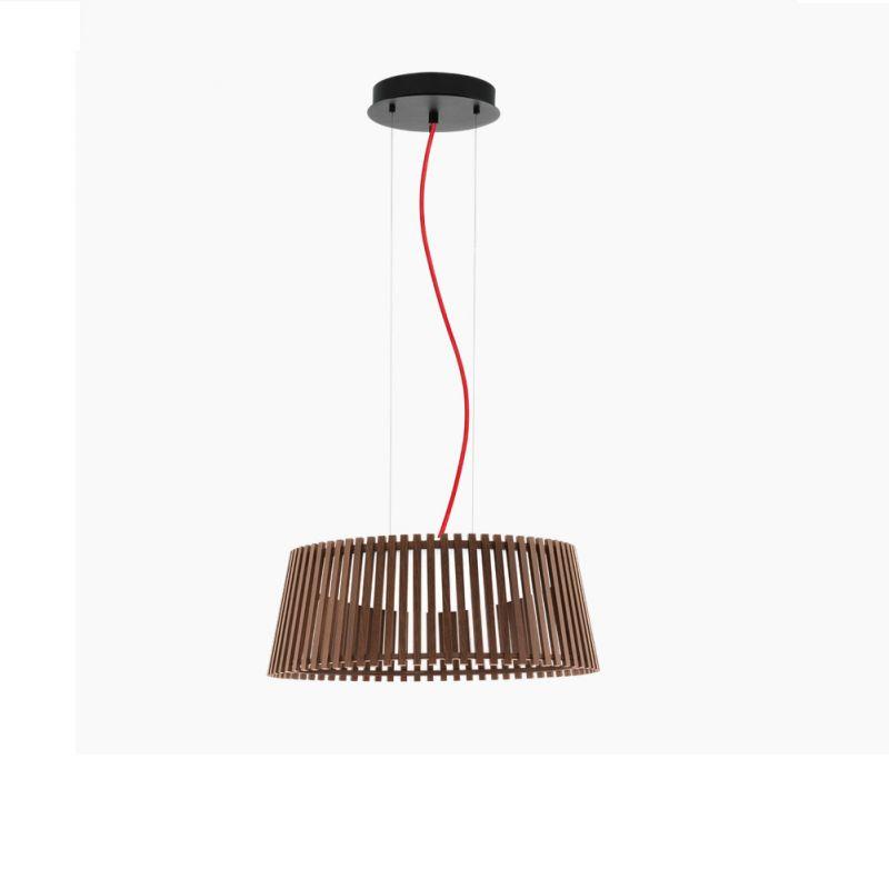 EGLO LED-Pendelleuchte Naturholz dunkel, 47 cm, Kabel rot Kabel rot 94017