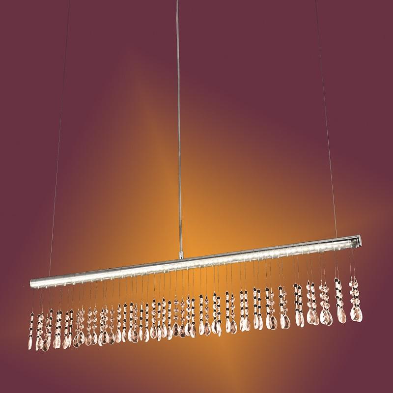 LHG LED Pendelleuchte in Chrom mit Kristallbeha...