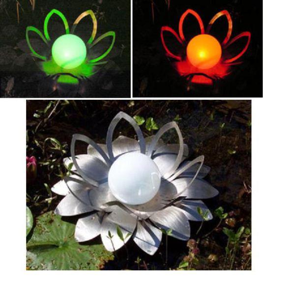LED-Solar DESIGN Lichtblüte Seerose aus Edelstahl mit Solar-Kugel mit 7-fach Farbwechsler oder weiß